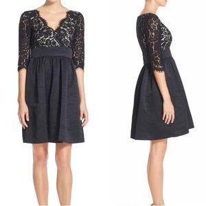 Eliza J | Black Lace Upper/ Black Taffeta Skirt